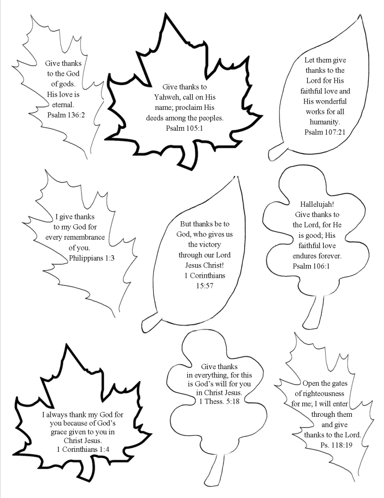 Adaptable image for thankful leaves printable