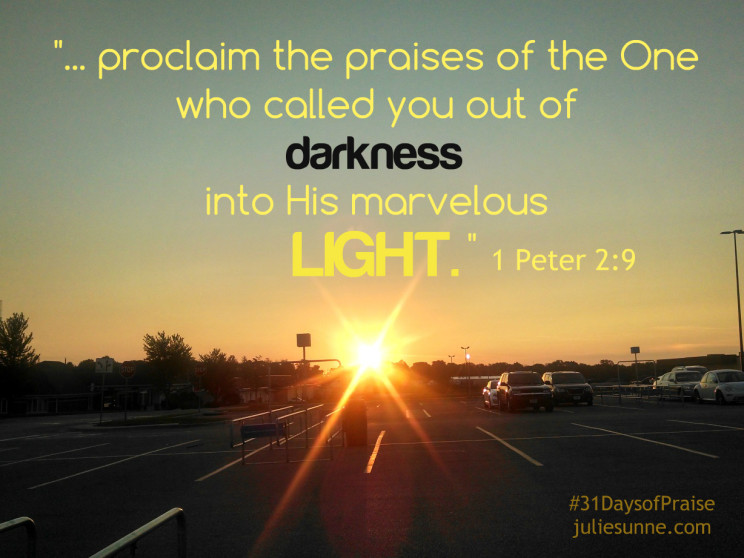 Out Of Darkness Into Light >> Called Out Of Darkness Into Light 31daysofpraise Julie Sunne